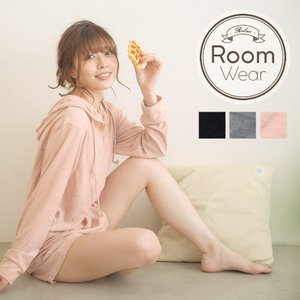 ルームウェア マシュマロパイル無地パーカー+ショートパンツルームウェア/全3色 部屋着 パジャマ レディース 女性 家着 オトナ可愛い フード|dita