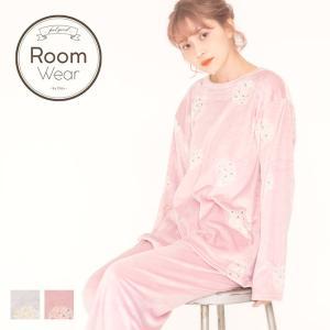 パジャマ レディース (防寒)もちもち裏起毛トップス&ロングパンツセット/全2色 部屋着 ルームウェア 可愛い 暖かい 柔らかい 長袖 ピンク 白 女子会|dita