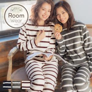 レディース  部屋着 ふわもこソフトマイクロプルオーバーロングパンツセット/全3色  ナイトウェア ルームウェア パジャマ 可愛い ボーダー ズボン|dita
