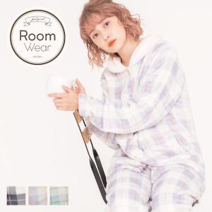 ルームウェア レディース ソフトマイクロふわもこチェック前開きトップス&ロングパンツセット/全3色 ナイトウェア パジャマ 可愛い もこもこ 長袖 大人|dita