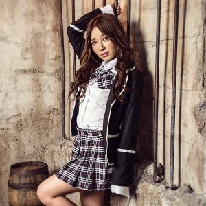 コスプレ レディース レディース costume(コスチューム)スクール学生制服 3点セット(ジャケット シャツ スカート リボン)|dita