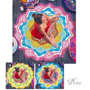 送料無料Dita(ディータ)ビーチマット/全3色ビーチタオル ラウンドビーチタオル ヨガマット 海(ゆうパケット0)|dita
