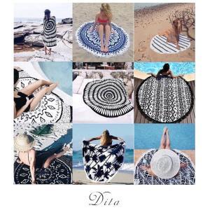 Dita(ディータ)選べるビーチマット/全8色ビーチタオル ラウンドビーチタオル ヨガマット 海 プール インスタ ヤシ柄【ゆうパケット2】|dita