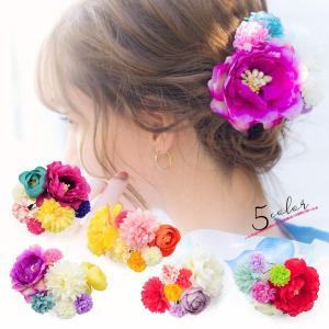 髪飾り 浴衣 ピンポンマム ワイヤー入り髪かざり ヘアアクセサリー 全5種 かんざし 2021 フラワー 花 大人 可愛い 髪かざり 小物 dita