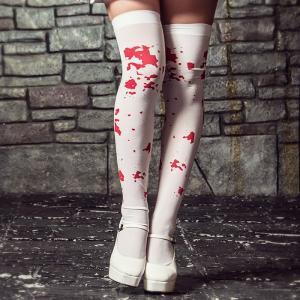 レディース ちのり costume(コスチューム)血のり柄ホワイトニーハイソックス【ゆうパケット2】|dita