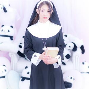 costume(コスチューム)シスターガール3点セット(ベール、ネックレス、ドレス)/黒(ブラック)(コスプレ セット 衣装 仮装 ハロウィン シスター 教会)|dita