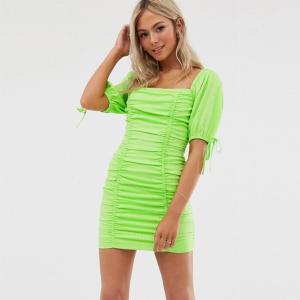 ASOS asos エイソス ショートドレス バルーン袖 ネオンカラー 小さいサイズあり パーティードレス 大きいサイズあり 30代 40代 結婚式 20代 お呼ばれ 二次会 diva-dress