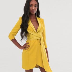 ASOS ショートドレス 袖付き ラップワンピース イエロー 小さいサイズあり パーティードレス 大きいサイズあり 30代 40代 結婚式 20代 お呼ばれ 二次会 diva-dress