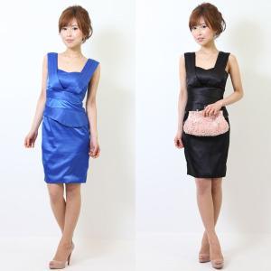 Vラインシンプルタイトショートドレス ブラック ブルー 結婚式/ワンピース/二次会/パーティードレス|diva-dress