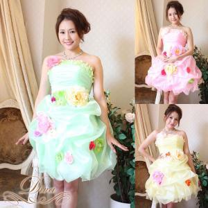 ドレス/結婚式/二次会/パーティードレス/フォーマル/ウェディング/ベアトップ/花/コサージュ/マシュマロスカート|diva-dress