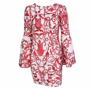 パーティードレス ショートドレス オープンバック 背中開き 刺繍 フレア袖  ショート丈 スレンダーライン パーティー 大人可愛い|diva-dress