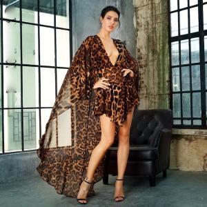 袖あり ドレス マント ケープ シフォン レオパード柄 ヒョウ柄 ショートドレス ワンピース パーティードレス 大きいサイズ 被らない ドレスワンピ|diva-dress