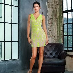 袖なし ドレス パーティードレス ショートドレス スパンコール ノースリ Vネック 蛍光グリーン ショート丈 スレンダー 大きいサイズ|diva-dress