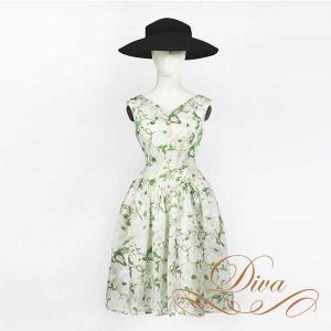パーティードレス 結婚式 20代 30代 40代 大きいサイズ 二次会 ワンピース 花柄 ミディアムフレア|diva-dress