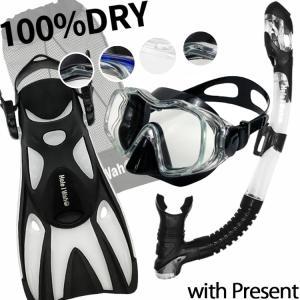 シュノーケルセット『100%ドライスノーケル』 & マスク & フィン シュノーケリング セット3点|diving-hid