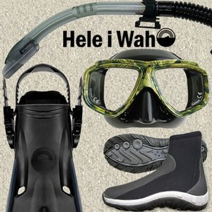 軽器材4点セット ダイビング フィン マスク シュノーケル ブーツ 度付き 対応 軽器材 セット 4点セット 【noah2camo-kiki+-laulau+-gripboot】|diving-hid