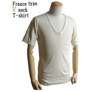 フランス軍 公式通販 Vネック Tシャツレプリカ 後染め7 エンジ ショップ M