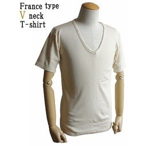 直営ストア フランス軍 Vネック Tシャツレプリカ 後染めミッドナイト ブルー7 国内在庫 M