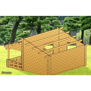 片流れ屋根の大型ログハウス。仲間同士で暖炉を囲んで楽しもう!セルフビルドミニログハウスキット《網戸付き》【BL-M5L/価格1,423,440円】|diy-kithouse|05