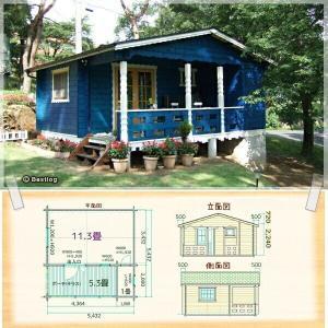 コテージ(貸別荘)や仮設住宅にお奨めログハウス。トイレやユニットバスを設置して。セルフビルドミニログハウスキット《網戸付き》【BL-M5T】|diy-kithouse