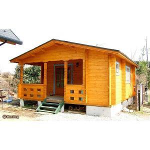 コテージ(貸別荘)や仮設住宅にお奨めログハウス。トイレやユニットバスを設置して。セルフビルドミニログハウスキット《網戸付き》【BL-M5T/価格1,362,960円】|diy-kithouse|03