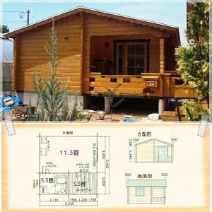 小型別荘・仮設住宅に。デッキに突き出た小部屋が魅力です。セルフビルドミニログハウスキット《網戸付き》【BL-M5UT】|diy-kithouse