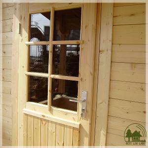 ログハウスに似合う片開きガラス入り木製ドア(鍵付) スタンダ...