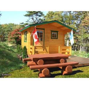 ご自宅のお庭や別荘地に建てる木製の離れ・倉庫として。5.8畳サイズ、2畳分のデッキ付。セルフビルドミニログハウスキット【ハイド6/価格527,040円】|diy-kithouse|02