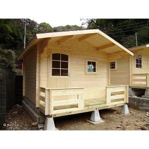ご自宅のお庭や別荘地に建てる木製の離れ・倉庫として。5.8畳サイズ、2畳分のデッキ付。セルフビルドミニログハウスキット【ハイド6/価格527,040円】|diy-kithouse|03
