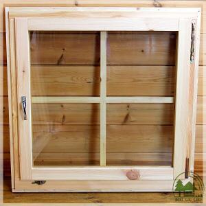 ログハウスに似合う片開きドレーキップ窓 スタンダード パイン...