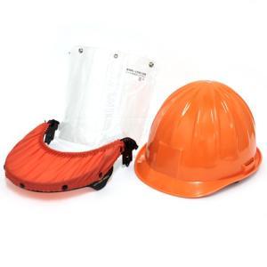 ヘルメット/防災面付きヘルメット 視界クリア シールド&ヘルメットセット オレンジ色 (林業/草刈り機 芝刈り機 チェーンソー)|diy-tatsu