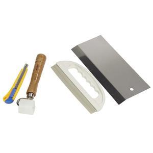 壁紙貼り 道具 粘着タイプカベ紙貼りセット (セット内容:押さえヘラ・ステンレスカット定規・押さえローラー・壁紙用カッターナイフ)|diy-tatsu