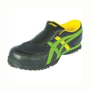 アシックス 作業用靴 ウィンジョブ 36S 9084ブラック×グリーン 23.0cm FIS36S.9084-23.0 1足|diy-tool