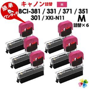 BCI-381M BCI-371M BCI-351M XKI-N11〔キヤノン/Canon〕対応 純正互換インク 詰め替えインク マゼンタ6個パック赤 純正インクに簡単に詰め替えできる  diyink