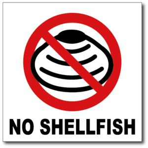 NO SHELLFISH/貝類は使用していませんの禁止食品表示ステッカー|diykanbanstore