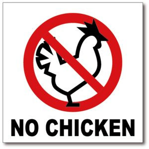 NO CHICKEN/鶏肉は使用していませんの禁止食品表示ステッカー|diykanbanstore