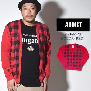 カーディガン 秋冬 メンズ ブランド 薄手 学生 大きいサイズ ニット セーター 赤 ADDICT アディクト チェック柄|dj-dreams