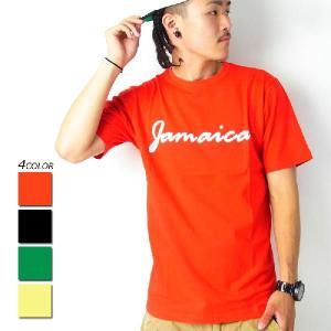 Tシャツ メンズ 半袖 秋冬 ブランド おしゃれ Jamaica ジャマイカ プリント 大きいサイズ ビッグシルエット レゲエ 赤 黄 残りSサイズ|dj-dreams