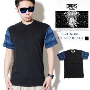 Tシャツ メンズ 半袖 秋冬 おしゃれ ブランド 大きいサイズ ビッグシルエット ロゴT プリント Crooks&Castles 黒 残りSサイズ|dj-dreams