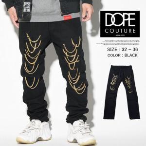 DOPE ドープ ジーンズ メンズ ブランド 大きいサイズ ダメージ ストレート ルーズ デニムパンツ チェーン 16DP-QS173P 黒 dj-dreams