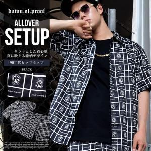 セットアップ メンズ 秋冬 半袖 90年代 HIPHOP ロゴ総柄デザイン 黒 シャツ ハーフパンツ dj-dreams