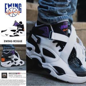 EWING ATHLETICS ユーイング バッシュ EWING ROGUE クロスストラップ スニーカー メンズ おしゃれ ブランド バスケットシューズ バスケットボール ハイカット 白|dj-dreams