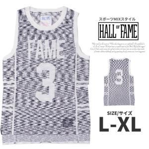 HALL OF FAME ホールオブフェイム タンクトップ メンズ ブランド おしゃれ スポーツ サマーニット素材 大きいサイズ 白|dj-dreams