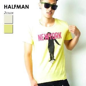 HALFMAN ハーフマン Tシャツ メンズ 半袖 秋冬 おしゃれ ブランド 大きいサイズ ビッグシルエット ニューヨーク チャップリン プリント 白 残りMサイズ|dj-dreams