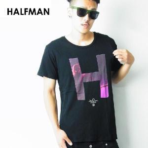 HALFMAN ハーフマン Tシャツ メンズ 半袖 秋冬 おしゃれ ブランド 大きいサイズ ビッグシルエット H 英字 プリント 黒 残りSサイズ|dj-dreams