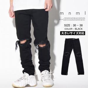 mnml デニム M1 Denim 17ML-SP150P ミニマル 裾ZIP付きジーンズ メンズ 無地 モード ストリート 2017 春夏 新作