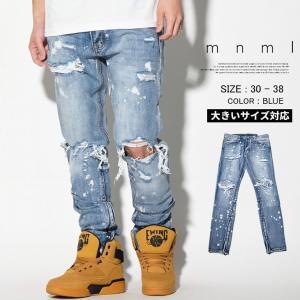 mnml デニム m1 Splash Denim 17ML-SP151 ミニマル 裾ZIP付きスプラッシュジーンズ メンズ 無地 モード ストリート 2017 春夏 新作