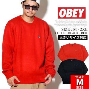 オベイ OBEY セーター メンズ 長袖 ニット 無地 ワンポイント Court Sweater USモデル 大きいサイズ 151000040 黒 赤|dj-dreams