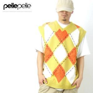 ペレペレ ニットベスト 秋冬 メンズ ブランド セーター 大きいサイズ PELLEPELLE トップス|dj-dreams