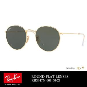 レイバン サングラス Ray-Ban ROUND FLAT LENSES RB3447N 001 50-21 クリスタル グリーン|dj-dreams